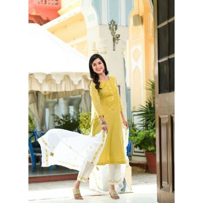 Peach english color/light mustard kurta with fine embroidery, paired with white pants and beautiful pure dupatta with complete embroidery work