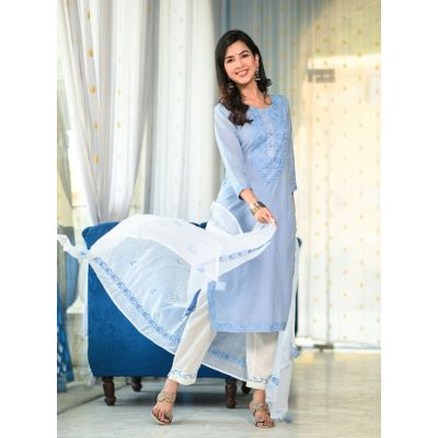 Airforce blue english color kurta, fine embroidery with white pants