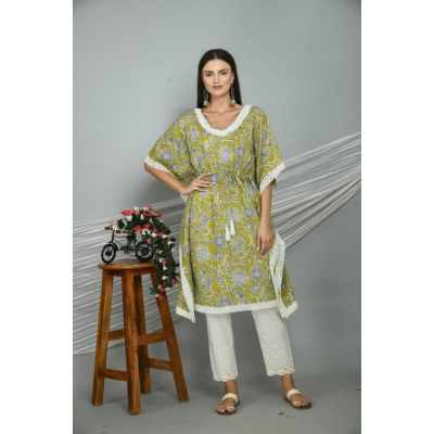 Olive green printed knee-length kaftan set with fitted pants.