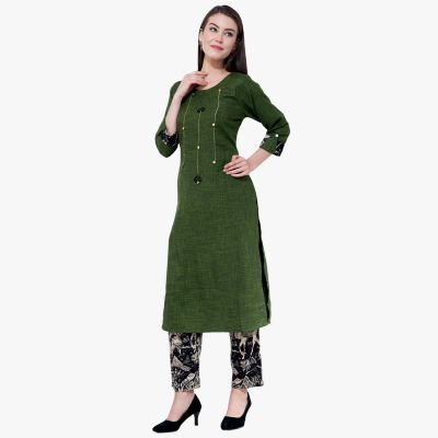 Olive Green Cotton With Black Printed Palazoo