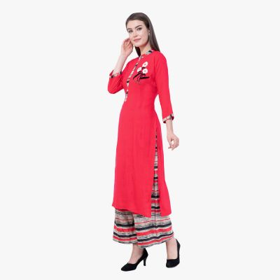 Tomato Red Kurta Complimented With Horizontal Lined Palazzo