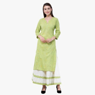 2 Piece Set Suit With Cotton Lime Green Kurta With White Palazzo